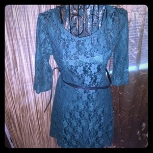Dresses & Skirts - Green lace dress with belt